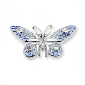 Enamel Butterfly Brooch/Pendant set with Moonstones & Sapphires
