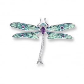Enamel, Diamond & Amethyst Dragon Fly Brooch/Pendant