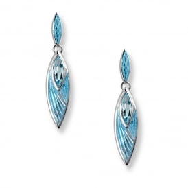 Silver Drop Earrings, set with Blue Topaz with Turquoise Enamel