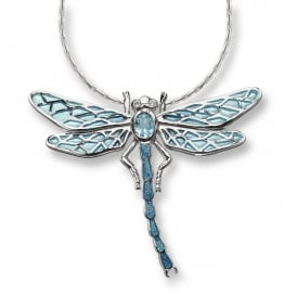 Silver Enamel Dragon Fly Necklet set with Blue Topaz & Diamonds