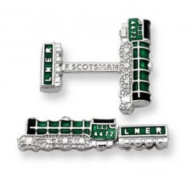 Silver Enamel Train Cufflinks