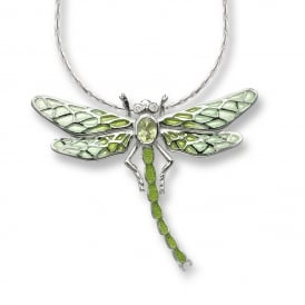 Silver Enamelled Dragon Fly Necklet set with Peridot & Diamonds