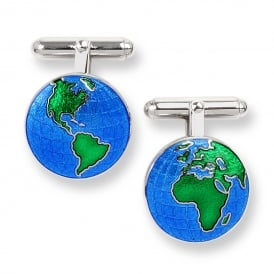 Silver Enamelled Earth Cufflinks