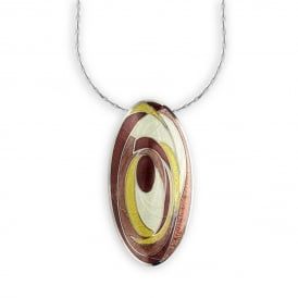 Silver Enamelled Oval Pendant and Chain.
