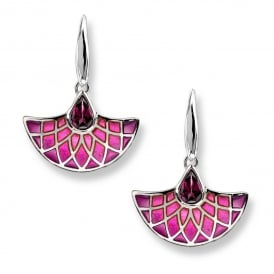Silver Pink Enamel Drop Earrings