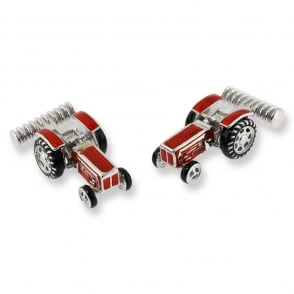 Silver Red Tractor Cufflinks