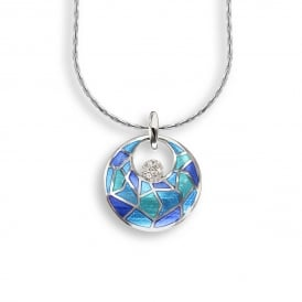 Sterling Silver Blue Enamelled Pendant and Chain