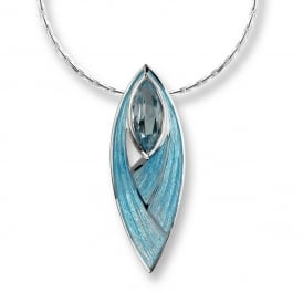 Turquoise enamel Sterling Silver & Blue Topaz Pendant & Chain
