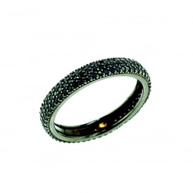 Black Rhodium Plated Silver Cubic Zirconia Band