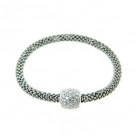 Black Rhodiumed Silver and Cubic Zirconia Bracelet