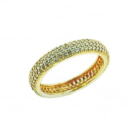 Gold Plated Silver Ring set with Cubic Zirconia