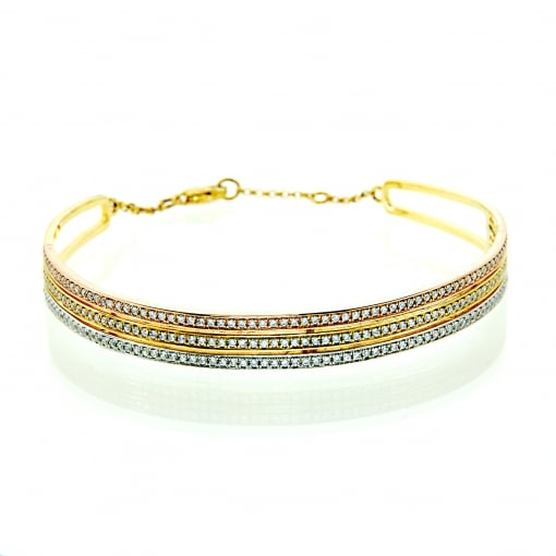 Pure Attraction Multi-Colour Three Row Bangle set with Cubic Zirconia.