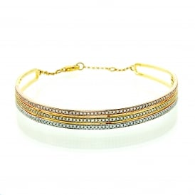 Multi-Colour Three Row Bangle set with Cubic Zirconia.