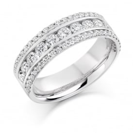 18ct White Gold Eternity with 3 Rows of Diamonds