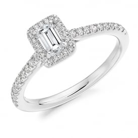 Platinum Emerald Cut Diamond Halo Ring 0.54ct