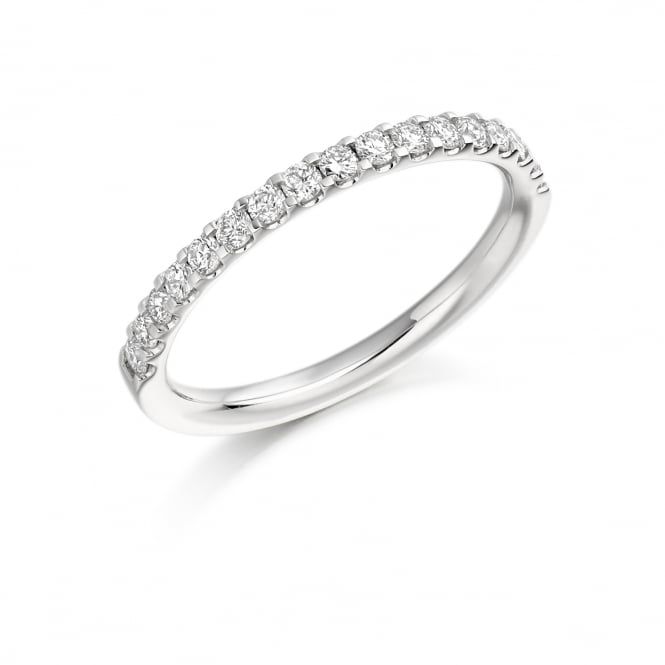 Raphael Collection Platinum Half Eternity Ring with Diamonds