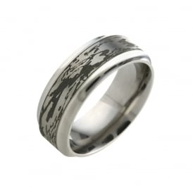 Flat Titanium Band with Wood Grain Finish 8mm