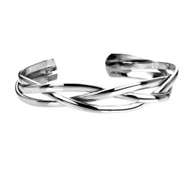 Silver Plaited Torque Bangle
