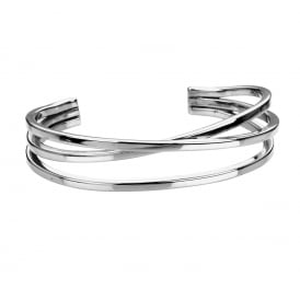 Silver Three Bar Torque Bangle