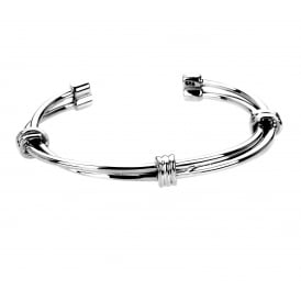 Silver Twist and Ties Torque Bangle