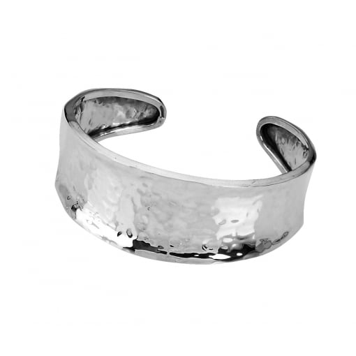 Tianguis Jackson Wide Silver Hammered Torque Bangle
