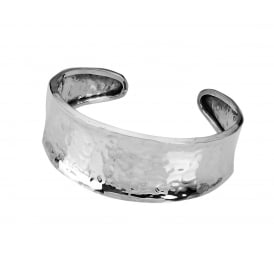 Wide Silver Hammered Torque Bangle