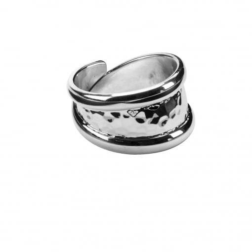 Tianguis Jackson Wide Silver Ring with Hammered Finish