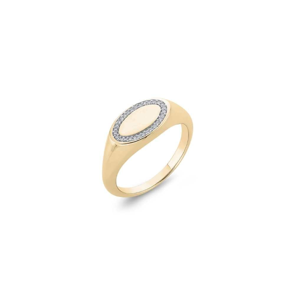 Tingle 9ct Yellow Gold Diamond Signet Ring Ladies From Goodwins Jewellers Uk
