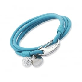 Turquoise Leather Bracelet with Crystal Ball by Unique & Co