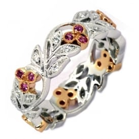 18ct White Gold Pink Sapphire & Diamond Floral Band.