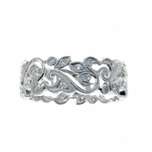 Ungar and Ungar Platinum scrolled band set with Diamonds.