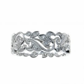 Platinum scrolled band set with Diamonds.