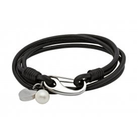 Black Leather Bracelet with Freshwater Pearl