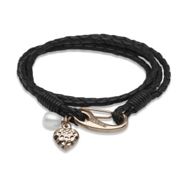 Black Leather Bracelet with Freshwater Pearl & Rose Colour Heart Charms