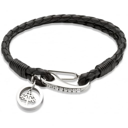 Unique & Co Black Leather Bracelet with Tree Charm
