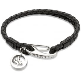 Black Leather Bracelet with Tree Charm