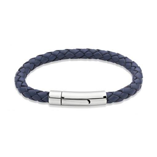 Unique & Co Blue Leather Bracelet with Stainless Steel Clasp