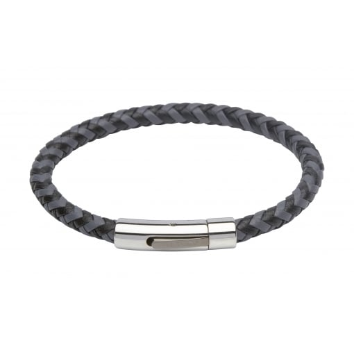 Unique & Co Grey and Black Leather Bracelet