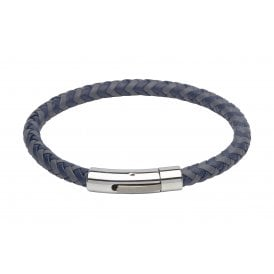 Unique & Co Grey and Blue Leather Bracelet