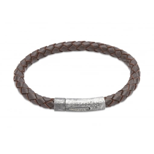 Unique & Co Leather Bracelet with Distressed Finish Clasp