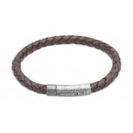 Leather Bracelet with Distressed Finish Clasp