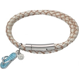Pearlised White Leather Bracelet with Flip Flop Charm