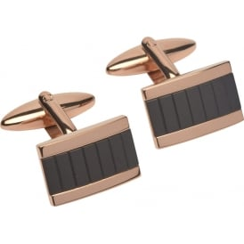 Unique & Co Rose Gold Plated Cufflinks with Leather.