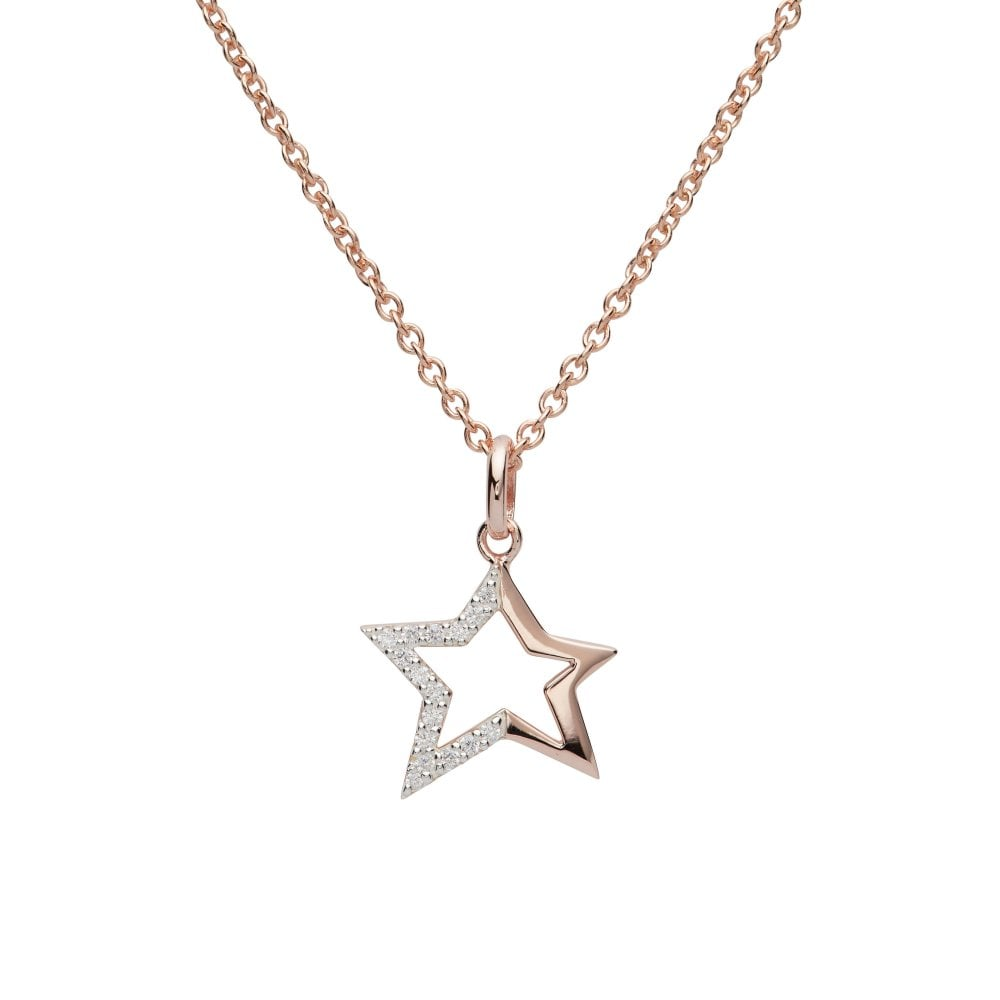 79cdfa57e20ed Rose Gold Plated Silver Star Pendant and Chain Set with Cubic Zirconia