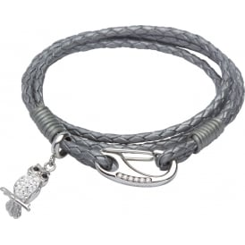 Silver Grey Leather Bracelet with Owl Charm