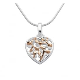 Silver & Rose Gold Plated Heart Pendant & Chain