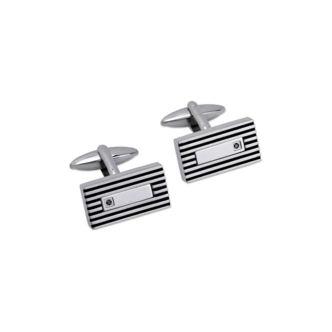 Unique & Co Steel Cufflinks Set with a Black Diamond