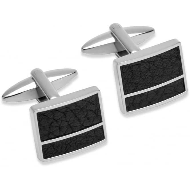 Unique & Co Steel Cufflinks with Black Leather