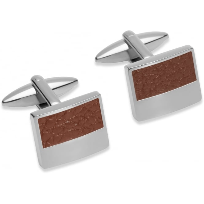Unique & Co Steel Cufflinks with Brown Leather