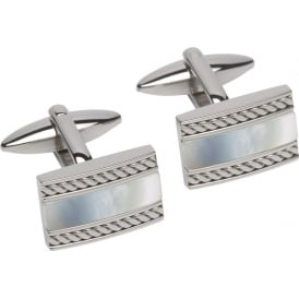 Unique & Co Steel Cufflinks with Mother of Pearl